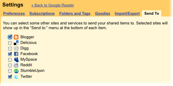 Settings Google Reader