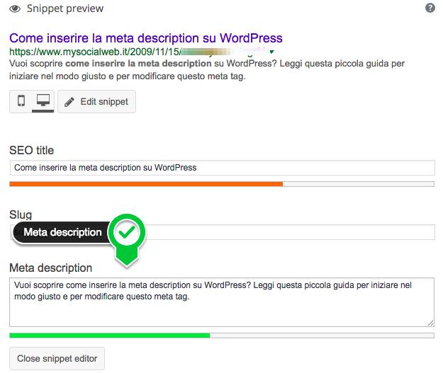 modificare meta description