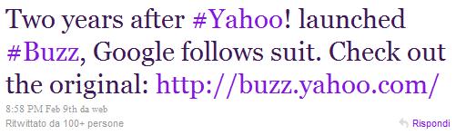Google Buzz e Yahoo!