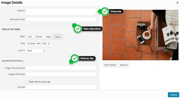 Come inserire Tag Alt immagini di WordPress