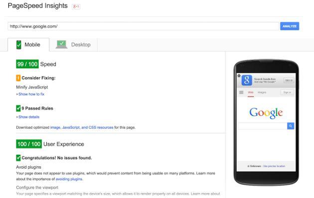 test velocità pagina di Google