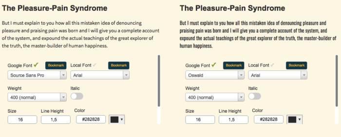 comparatore font