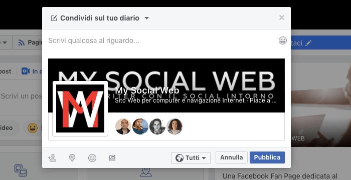 Condividere la pagina su Facebook sui profili