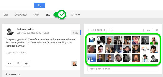 cerchie google plus