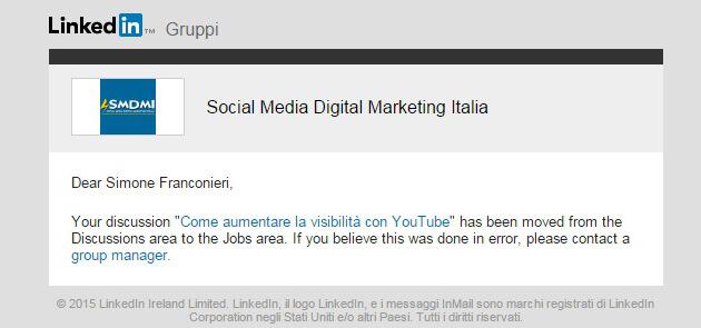 Email di spam dai gruppi LinkedIn