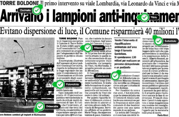 Un esempio di articolo di giornale