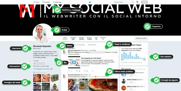 esempio profilo twitter