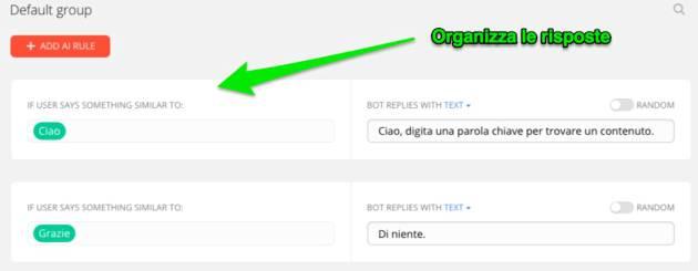 chatbot contenuti automatici