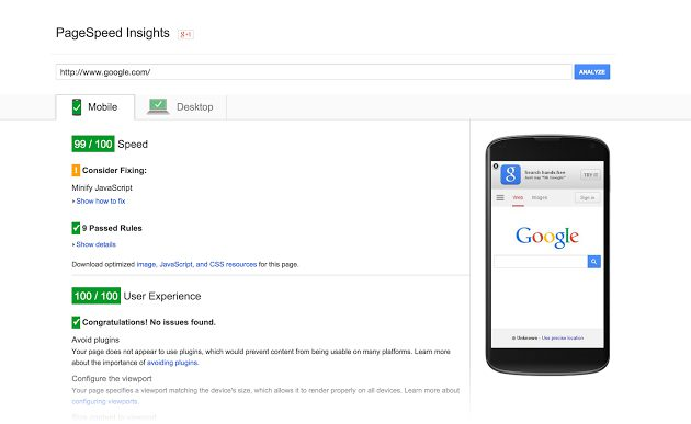 Speed Test Insight di Google