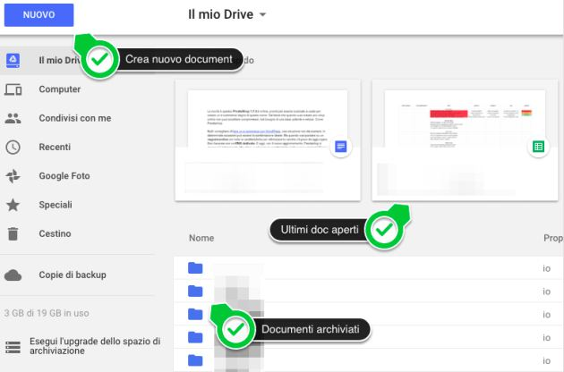 come creare un documento google drive