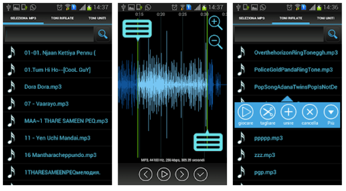 app android per tagliare MP3 online