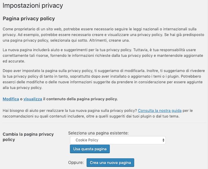 creare privacy policy wordpress