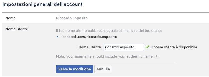Cambiare URL profilo personale