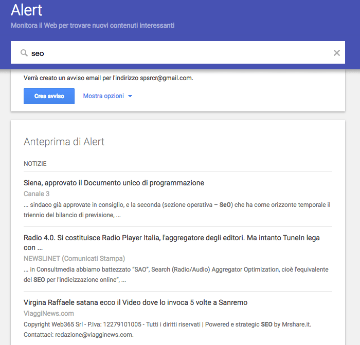 Attiva Google Alert