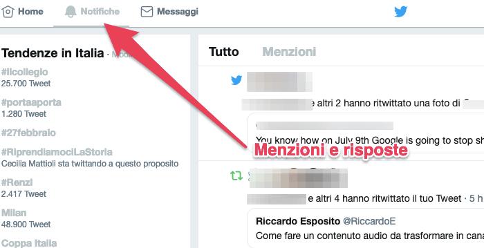 Notifiche di Twitter