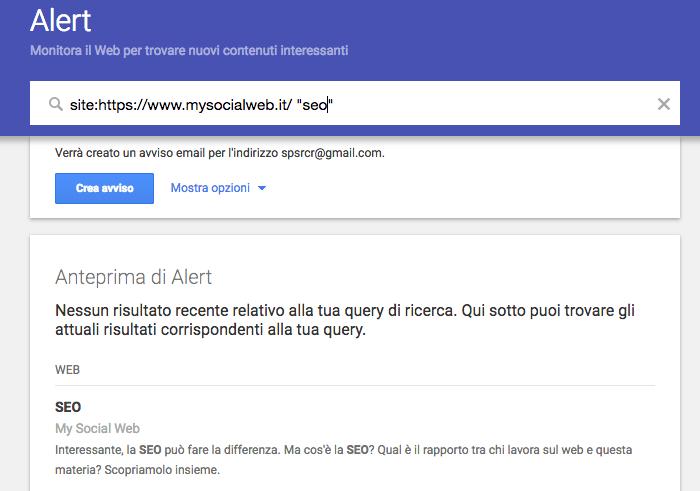 google alert operatori