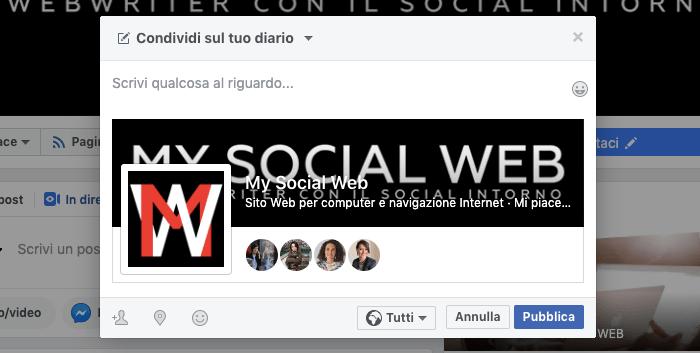 condividere pagina facebook