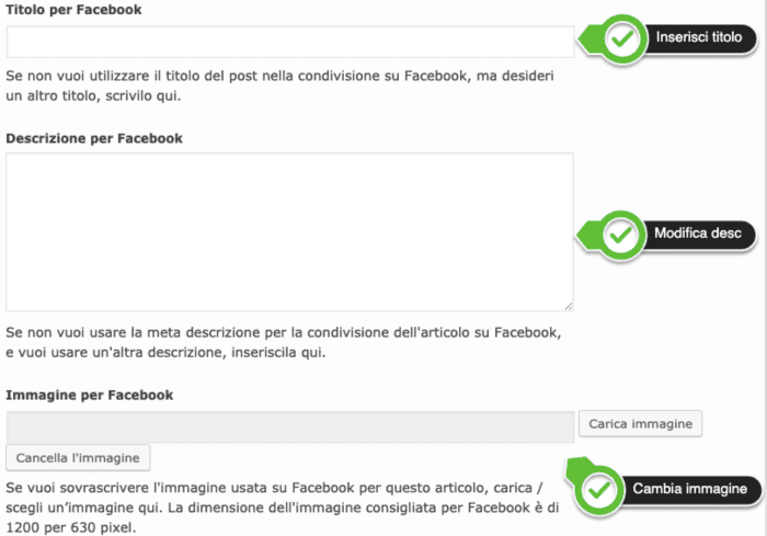 Personalizza anteprima facebook