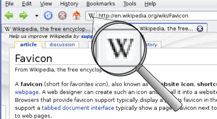 esempio di icona su pagina web