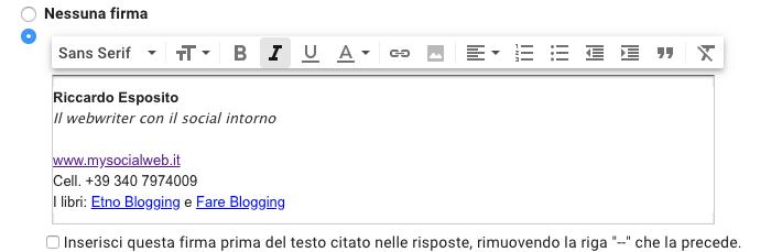 Come inserire una firma HTML