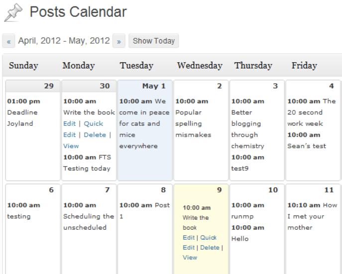 schermata di editorial calendar