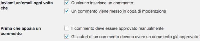 Impostazione commenti WordPress.