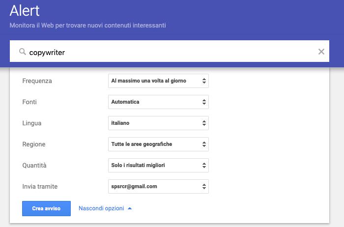 google alert per offerte lavoro copywriter