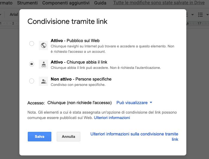 Pubblica un file Google Docs online