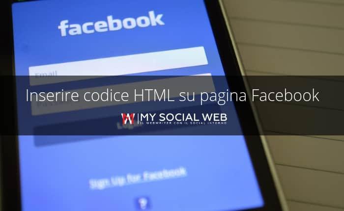 inserire codice html su pagina facebook