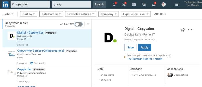 la schermata che mostra come trovare offerte di lavoro su linkedin