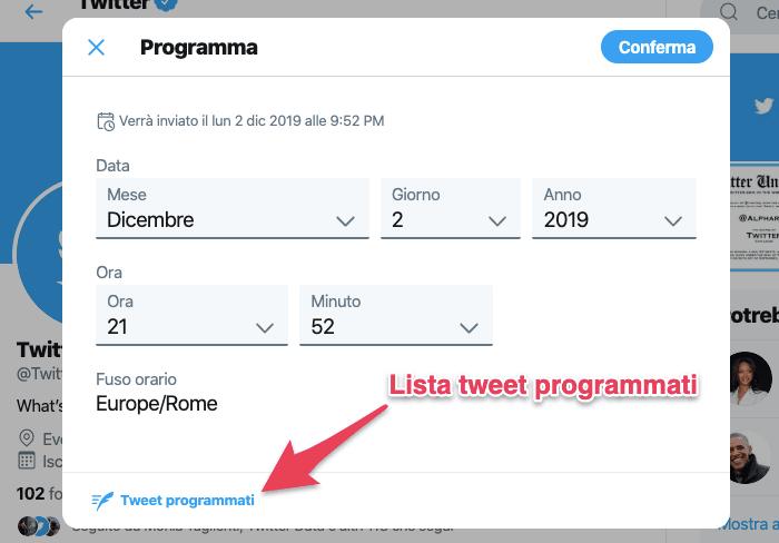 come programmare tweet