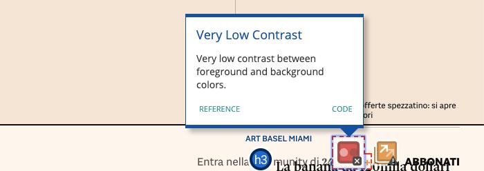WAVE Web Accessibility Tool e il contrasto