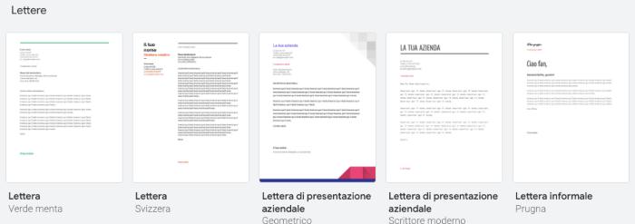 Modelli ed esempi già compilati di lettera.