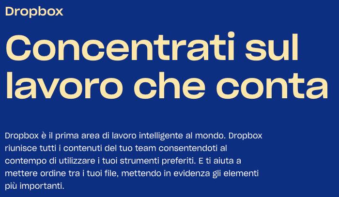 main promise e copy strategy di Dropbox.