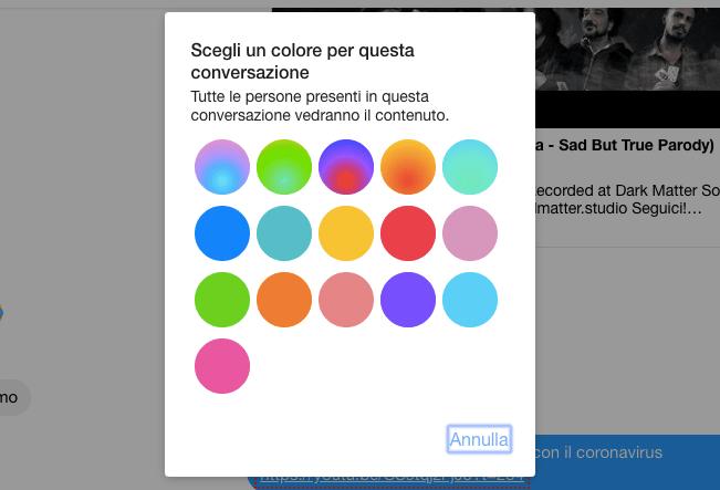 cambiare colore della chat di facebook