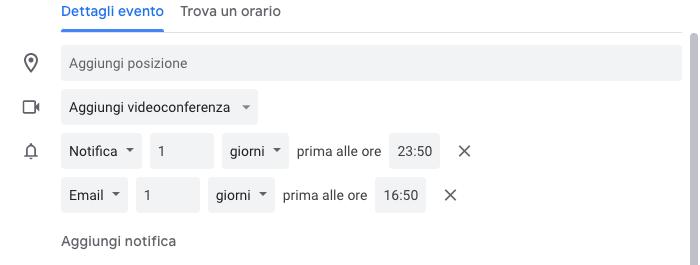 aggiungi notifica evento - trucchi di google calendar