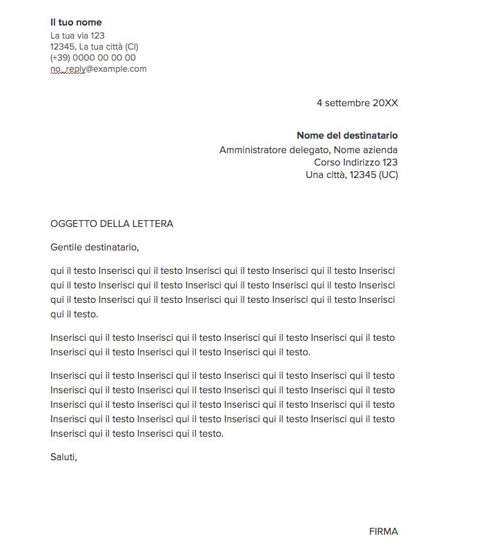 Esempio di lettera formale da seguire