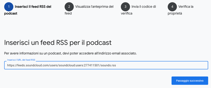 Come inserire il feed rss del podcast