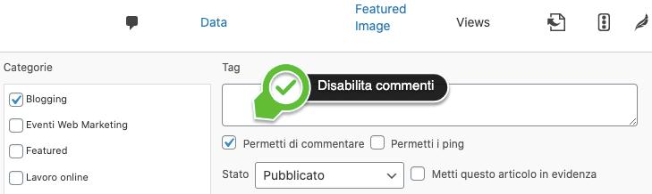 Disabilita i commenti di un unico post.