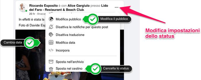 Posso modificare lo status di Facebook?