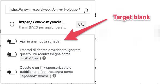 come inserire il target blank su WordPress
