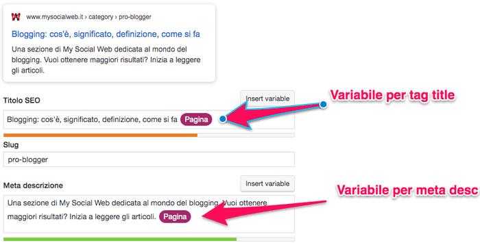 Cambiare la description per categorie e tag