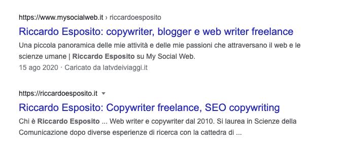 Un posizionamento su Google con sito web.